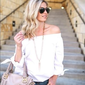 Free People Off The Shoulder White Top Medium